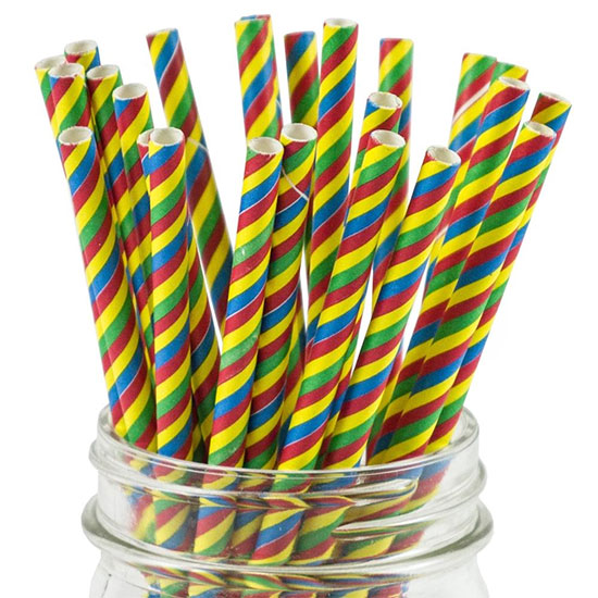 Rainbow-colored durable paper straws