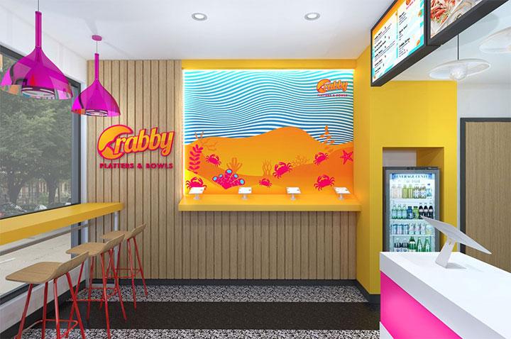 Bright pink colors in restaurant interior