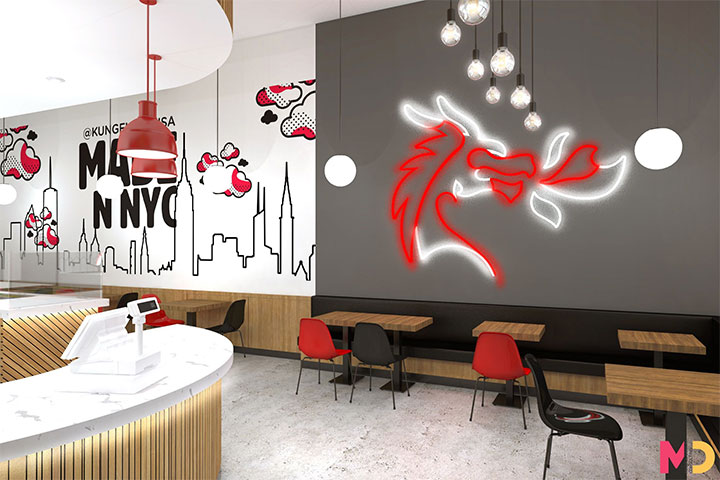 Large wall graphics in boba tea shop design