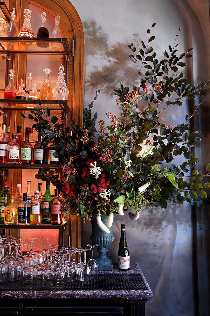 Traditional flower arrangements with fresh plants