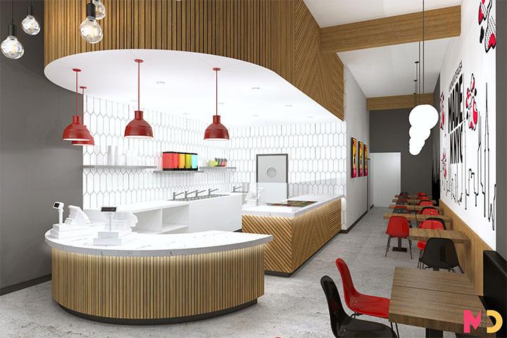 Long narrow seating area in bubble tea restaurant design