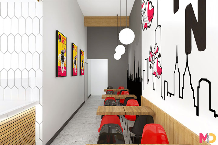 Red and black interior for boba cafe
