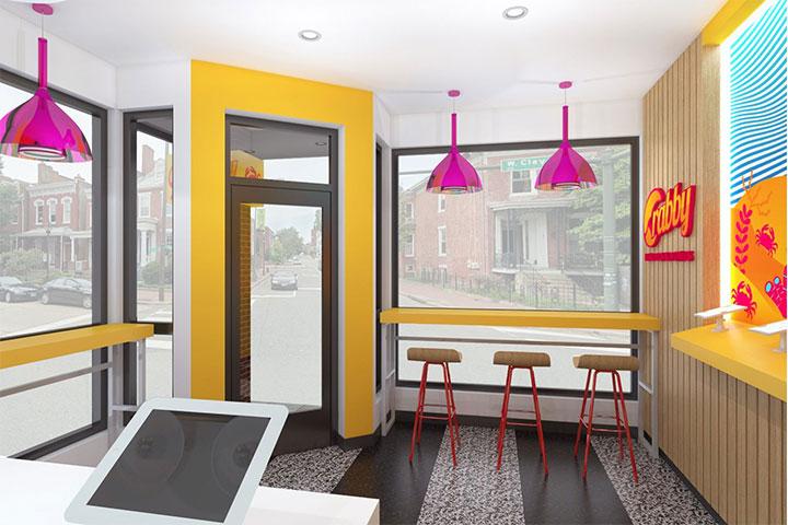 Orange tones in casual restaurant design
