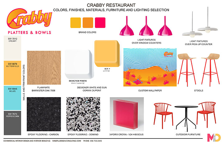 Material and furniture board with bright colored items
