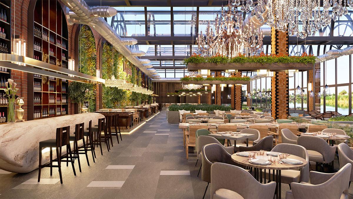 Green Plans in Restaurant Interior