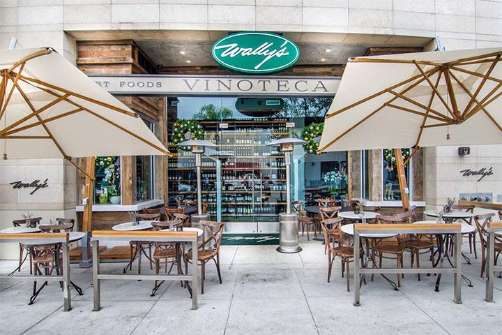 Beige Commercial Umbrellas in Restaurant Outdoor Area
