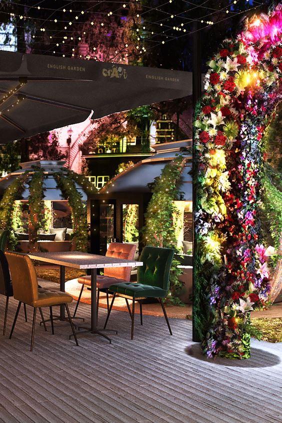 Plant Structures in Flower-Themed Restaurant Interior