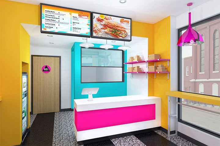 Colorful restaurant design in orange, pink and turquoise