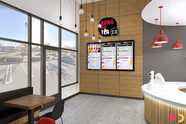 Entrance design with wood wall panels for bubble tea shop