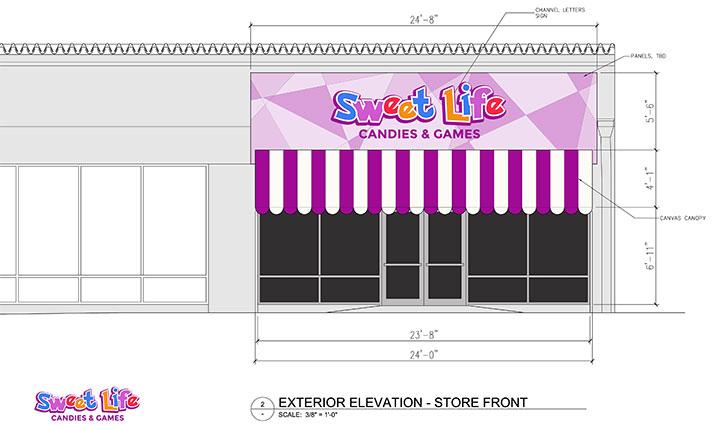 Colorful entrance design for game room