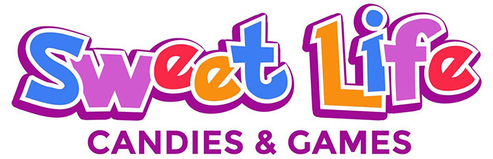 Bright colors in candy store and arcade room logo