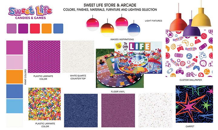 Materials and inspiration board for candy shop and arcade design