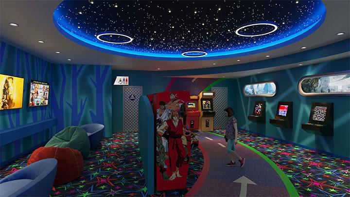Starry sky ceiling in arcade design