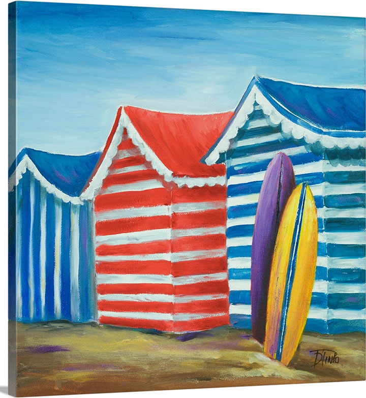 Colorful beach cabana wall art for restaurant summer design