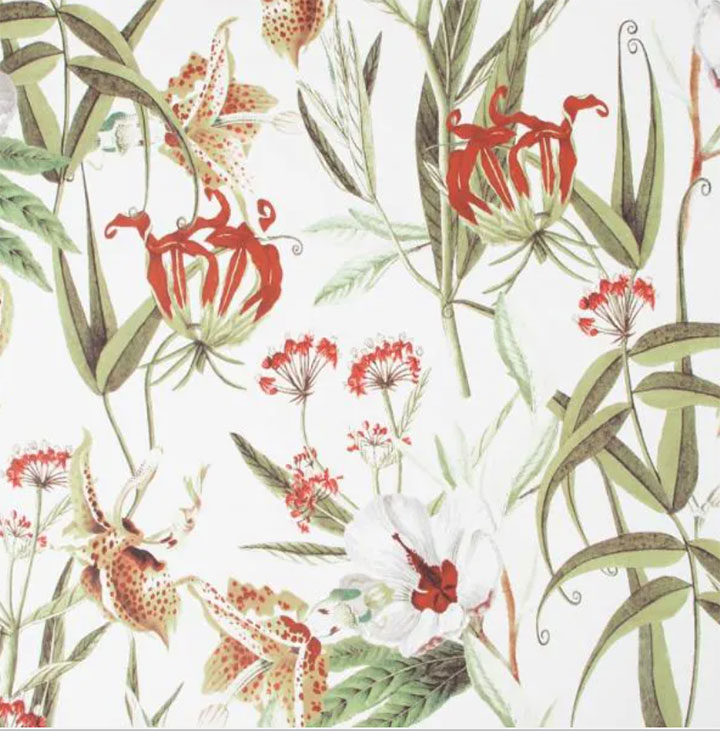 Red and green botanical wallpaper for elegant restaurant design