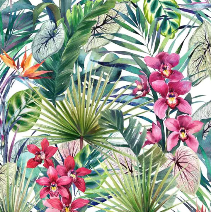 Wallpaper with Hawaiian print for cafe summer decor