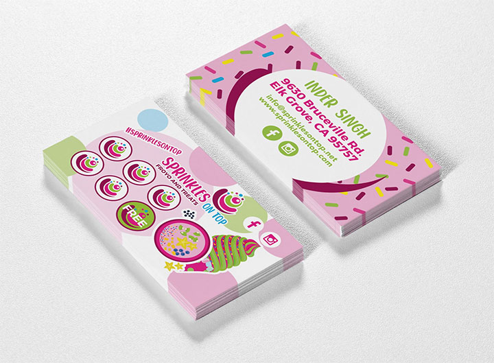 Business cards for frozen yogurt shop