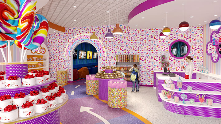 Purple and orange decor for sweets shop