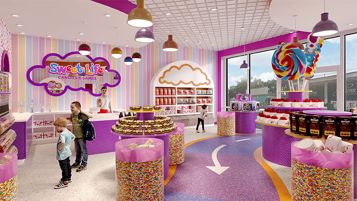 Candy decor for sweets shop design