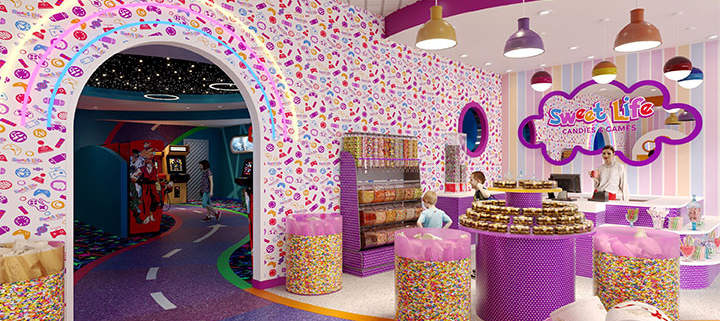 Passage from candy store to arcade game room