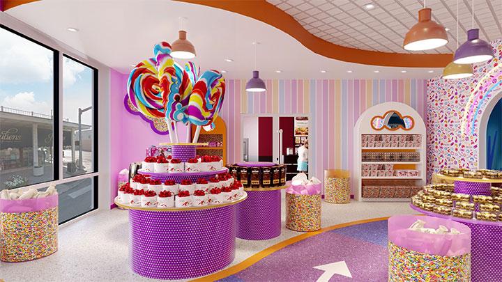 Purple candy store near arcade room