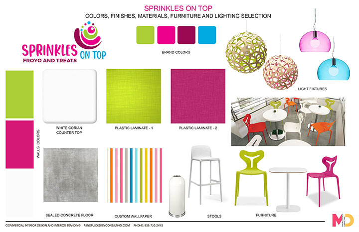 Colors, finishes, materials, furniture and lighting selection for frozen yogurt store design