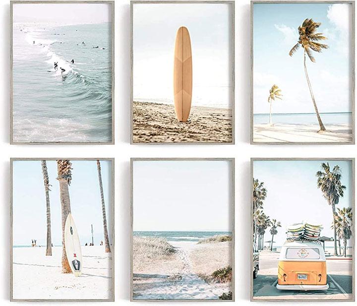 Beach-themed wall decor for summer restaurant interior