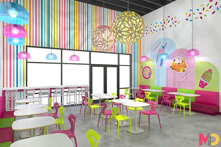 Pink and green chairs and benches in ice cream store interior