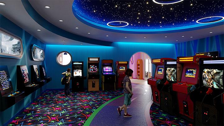 Dark blue arcade room interior design