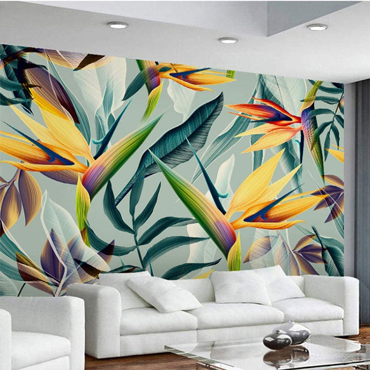 Restaurant interior with summer lily mural