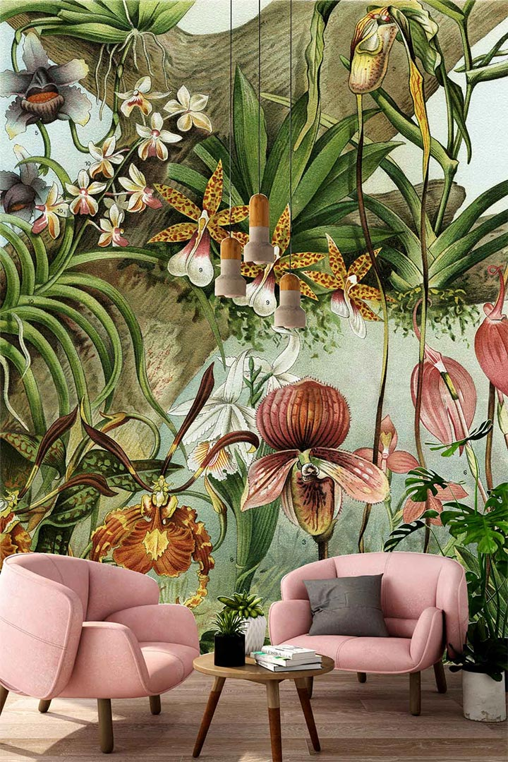 Spectacular wallpaper with oversized summer flowers