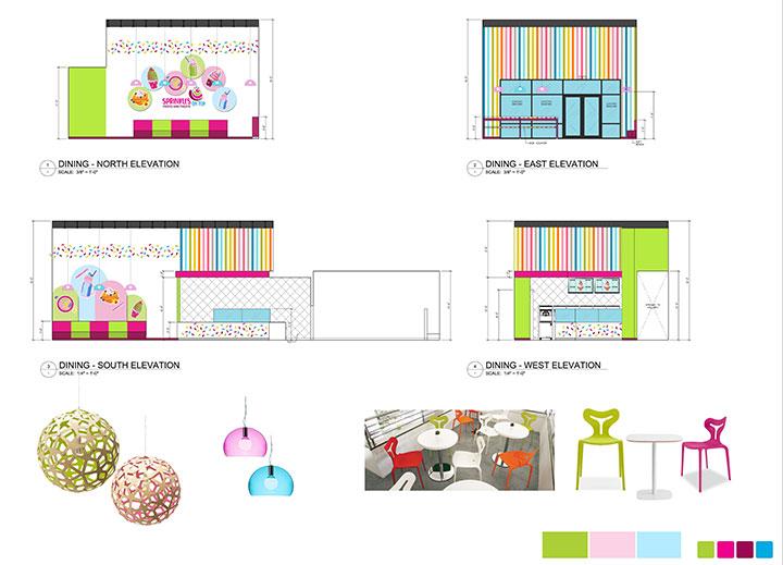 Elevations of ice cream store interior design