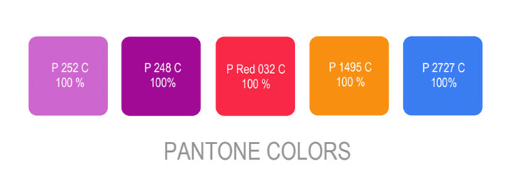 Pantone colors used in branding provided to clients