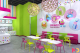 Frozen yogurt store design in lime, pink and blue
