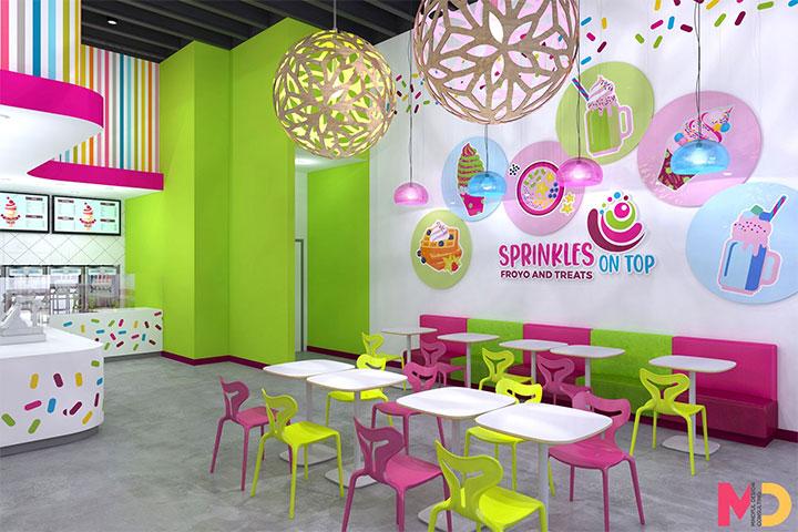 Colorful wall graphics of sweet treats in frozen yogurt shop