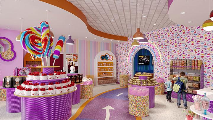 Circular shelves in candy store interior