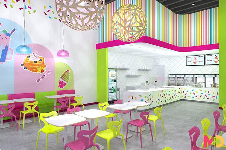 Frozen yogurt shop interior with striped soffit