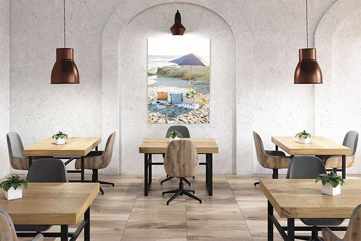 Restaurant interior with single piece of summer wall art