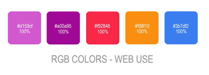 RGB colors used in branding design provided to customers