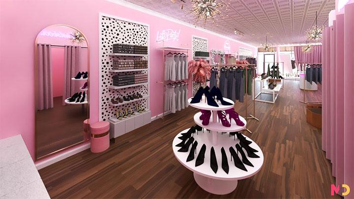 Zebra wall print in quaint women's clothing boutique