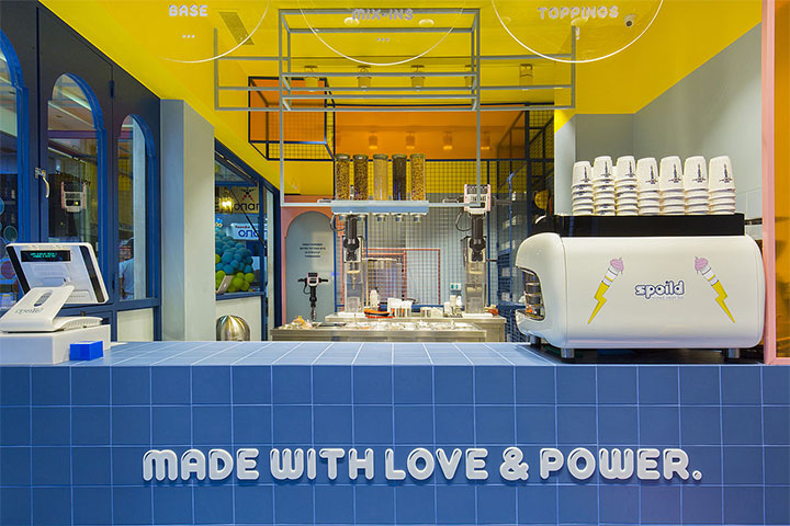 Blue and yellow creative interior for ice cream shop