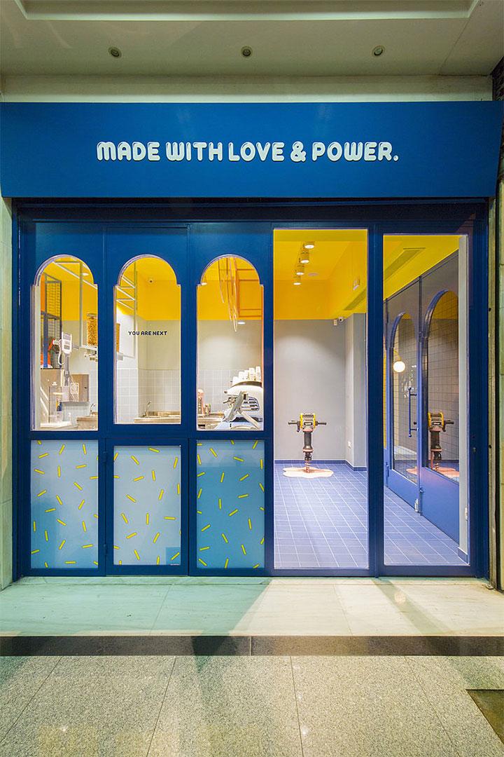 Entrance to creative ice cream shop