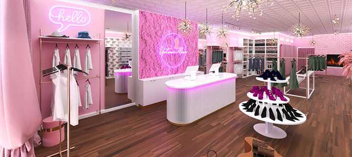Pink and gold boutique store design