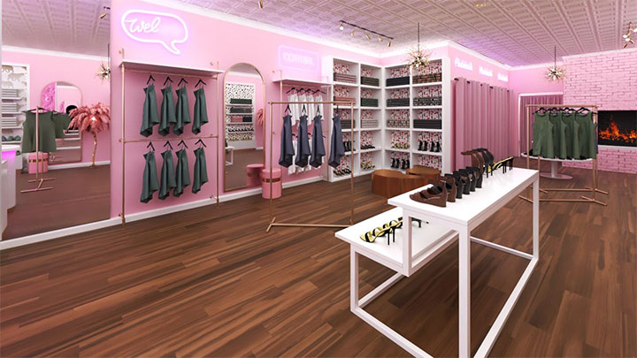 Minimalist shelving for women's clothing in store interior