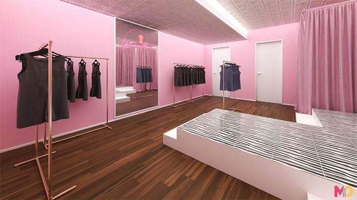 Using mirrors to amplify the space in retail interior design