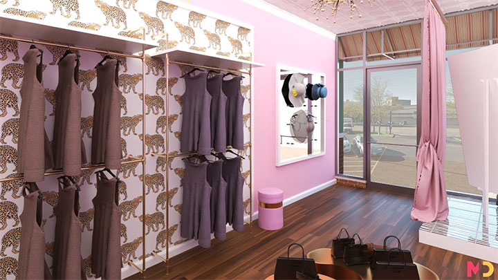 Leopard wallpaper decorative touch for women's clothing store trendy interior