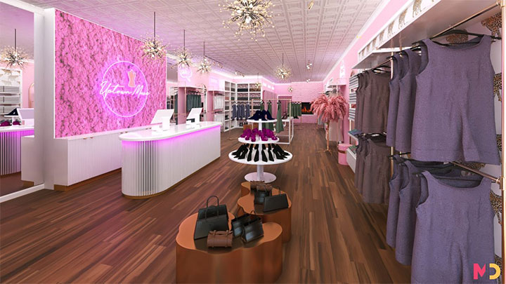 Pink clothing boutique store design intended for a woman clientele