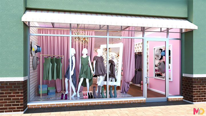 Elegant women's store window display with pink draperies and chandelier