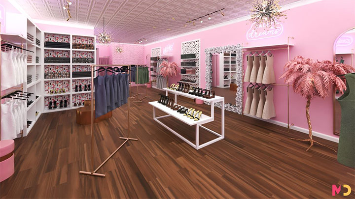 Pink feathery palm tree accent completes charming boutique store design