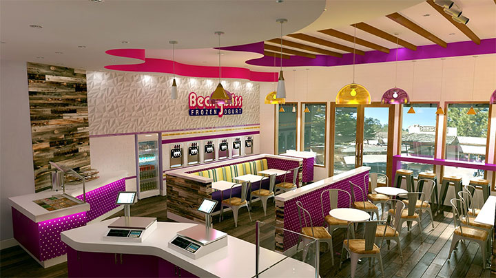 colorful soffits and lighting in frozen shop interior design